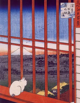 "Asakusa rice fields and festival Toranomaki. The series ""100 famous views of Edo"""