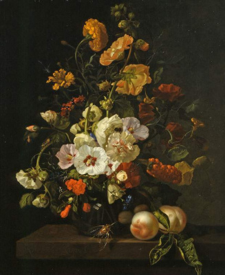 Рашель Рюйш. Цветы на выступе с персиками