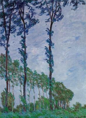 Claude Monet. Poplars, wind effect