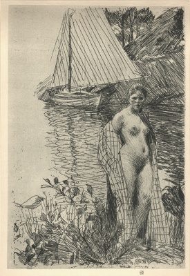 Anders Zorn. Half-naked woman on the shore