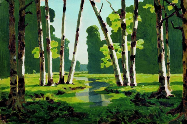 Arkhip Kuindzhi. The birch grove. Option-sketch to the