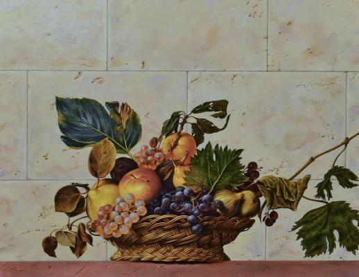 Sergey Kuzmin. Fruit basket. Caravaggio.