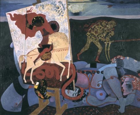 "Victor Ivanovich Zaretsky. Green (Future). The right part of the triptych ""Art"""