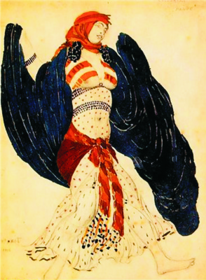 "Lev Samoilovich Bakst (Leon Bakst). Costume design for the Jewish dance for the ballet ""Cleopatra"""