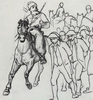 Vasily Grigorievich Perov. Pugachev escorting prisoners