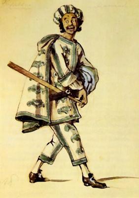 "Alexander Nikolaevich Benoit. Costume design for Truffaldino of Goldoni's play ""Servant of two masters"""