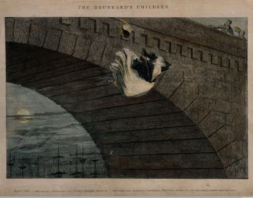 Джордж Крукшенк. Нищенка бросается с моста, её жизнь разрушена алкоголем
