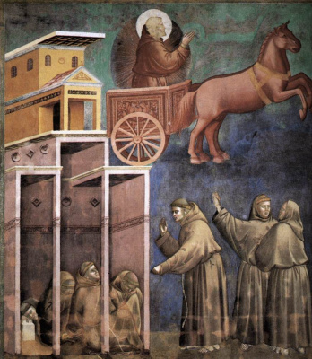 Giotto di Bondone. A vision of a beaming chariot. The Legend of Saint Francis