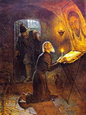 Александр Новоскольцев. Последние минуты жизни митрополита Филиппа. Малюта Скуратов входит в келью