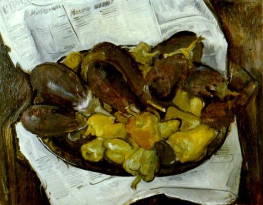 Александр Викторович Беляков. Still life with eggplants, peppers and news