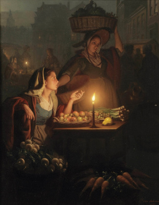 Petrus van Shendel. Lively night market with a vegetable tray. 1865