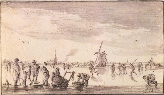 Jan van Goyen. Winter landscape with skaters and fishermen