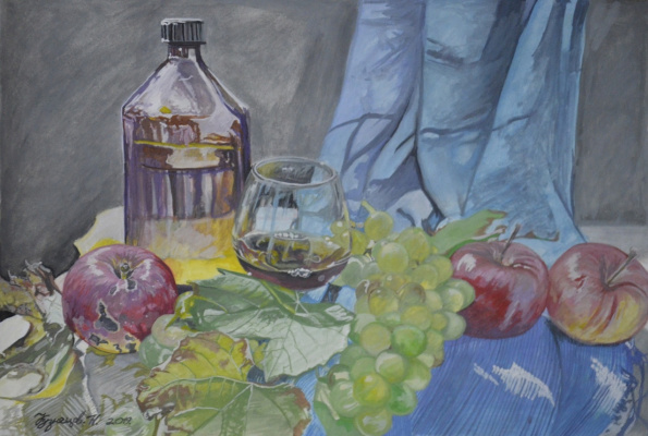 Kuznetsov.N. Bottle, apples and grapes.