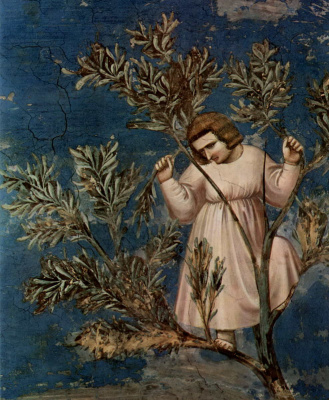 Giotto di Bondone. The entrance of the Lord into Jerusalem. Scenes from the life of Christ. Fragment