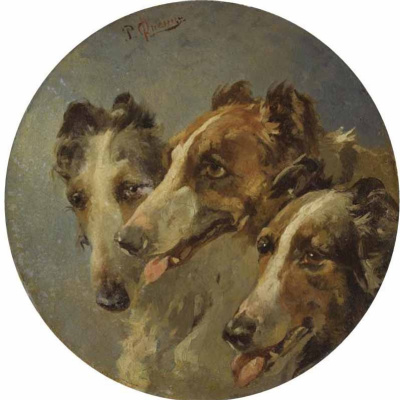 Rudolf Fedorovich Frenz. Three hounds. 1872