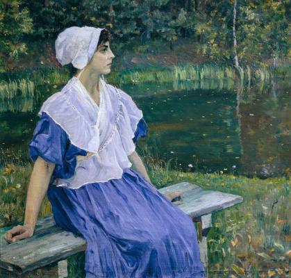 Mikhail Vasilyevich Nesterov. Girl by a pond (Portrait of N. M. Nesterova)