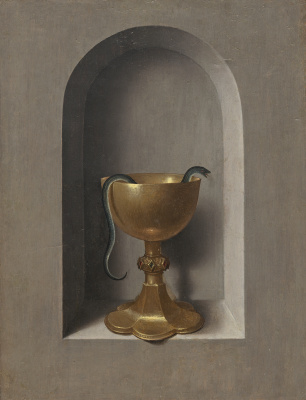 Hans Memling. Chalice Of Saint John The Theologian. Diptych of Saint John and Saint Veronica (the reverse side of the right wing)