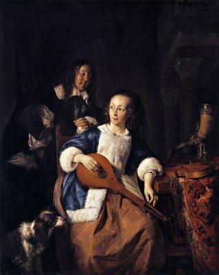 Gabrielle Metsu. Woman playing the cittern