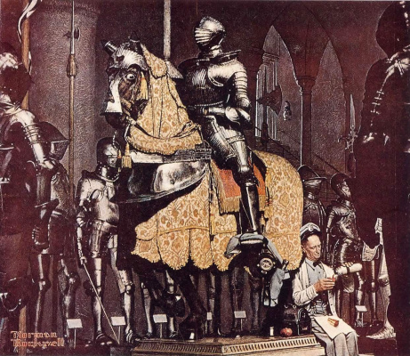Norman Rockwell. Lunch break with a knight