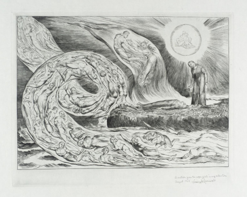 "William Blake. The whirlwind of lovers: Francesca da Rimini and Paolo Malatesta. Illustrations for ""the divine Comedy"""