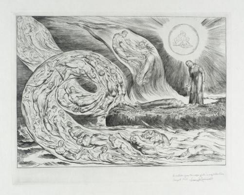 "William Blake. The whirlwind of lovers: Francesca da Rimini and Paolo Malatesta. Illustrations for ""the divine Comedy"""
