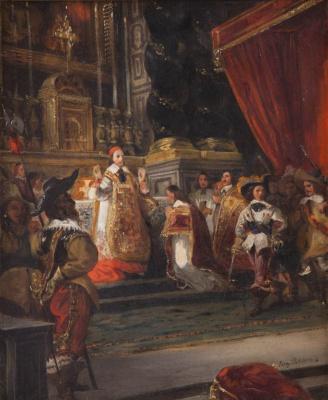 Эжен Делакруа. Кардинал Ришелье проводит мессу в часовне королевского дворца (Эскиз)