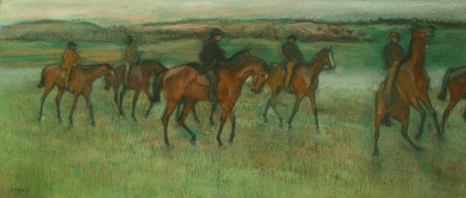 Edgar Degas. Exercising Racehorses