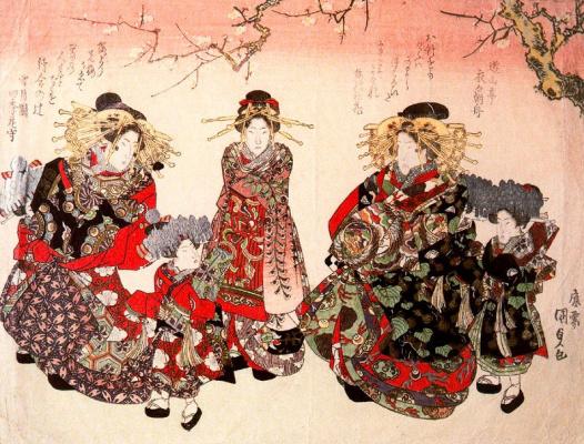 Утагава Кунисада. Праздничное шествие куртизанок с прислугой под расцветающим вишневым деревом