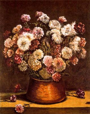 Giorgio de Chirico. Still life with flowers in a copper vase
