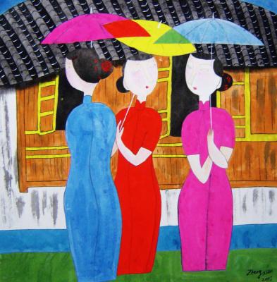 Гу Юэ. Девушки под зонтами
