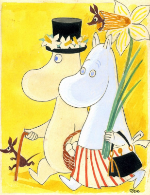 Tove Jansson. Moomin Dad and Moomin Mom on Easter Day