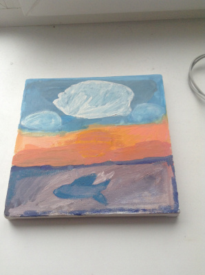 Amateur Draw. Fish at sunset