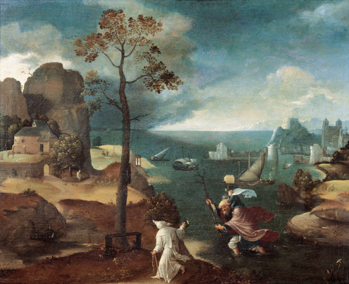 Joachim Patinir. St. Christopher carries the Christ child