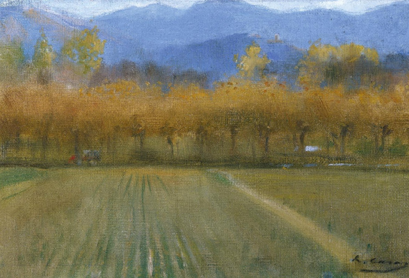 Ramon Casas i Carbó. Autumn landscape, the neighborhood of the monastery of Sant Benet de Bages