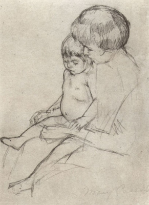 Mary Cassatt. Mother put stockings on the baby