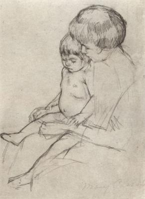 Mary Cassatt. Mother put stockings on the baby