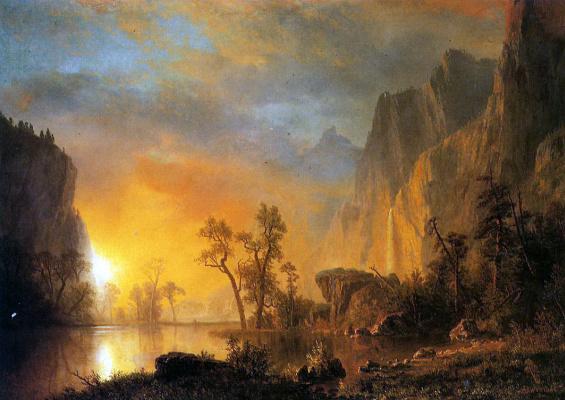 Альберт Бирштадт. Закат в скалистых горах