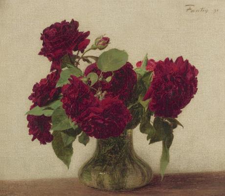 Анри Фантен-Латур. Темные розы на светлом фоне