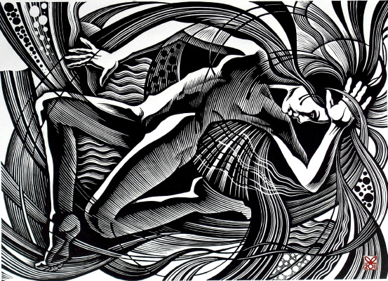 "Vladimir Kataev. ""Bay-1"", 46 x 66, linocut, 2011"