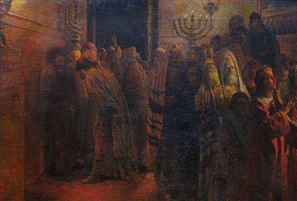 """Nikolai Nikolaevich Ge. The court of the Sanhedrin. """"Guilty of death!"""""""