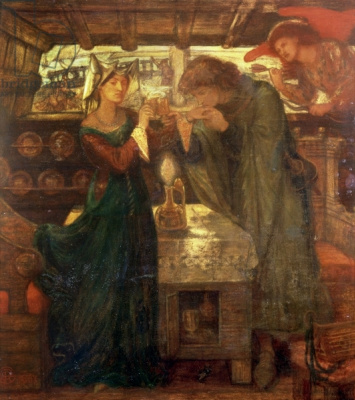 Dante Gabriel Rossetti. Tristan and Isolde drink a love potion