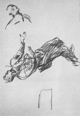 Александр Александрович Дейнека. Рисунок к картине «Сбитый ас»