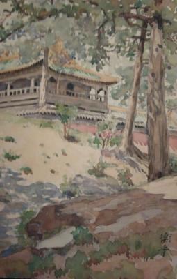 - Подпись иероглифы. Китайская пагода