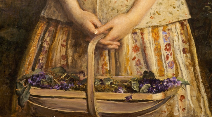 John Everett Millais. The sweetest eyes that ever seen. Fragment. Basket with violets