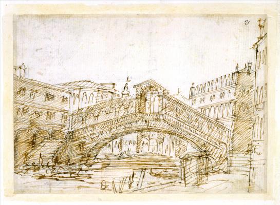 Giovanni Antonio Canal (Canaletto). Rialto Bridge in Venice