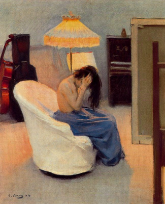 Ramon Casas i Carbó. In the rays of two lamps. Girl behind the toilet