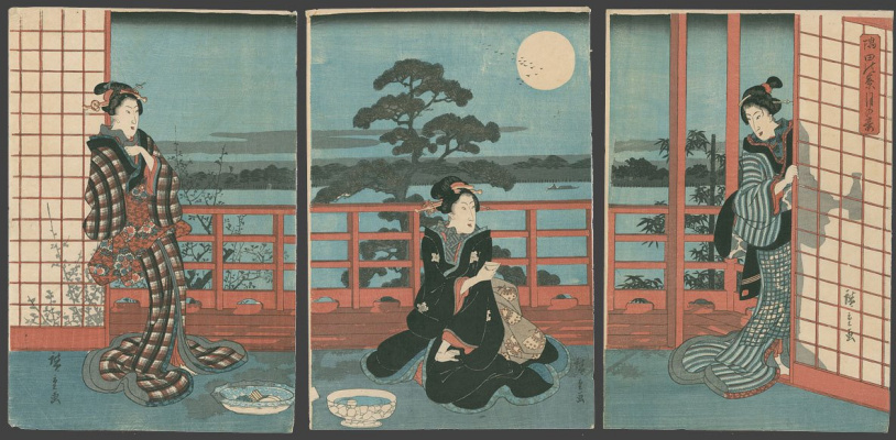 Utagawa Hiroshige. Triptych: tea on the terrace in the moonlight on the Sumida river