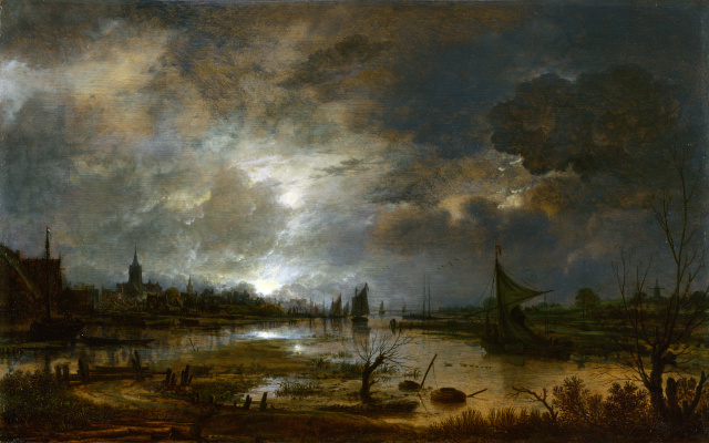 Art van der Ner. The river near the city, in the moonlight