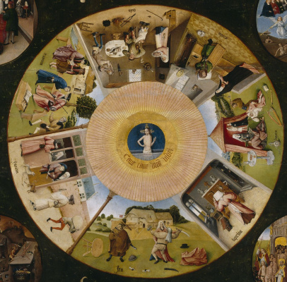 Hieronymus Bosch. The seven deadly sins and the Four last things. The Central part