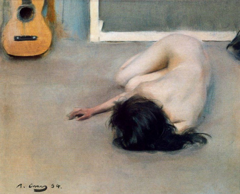 Ramon Casas i Carbó. Reclining nude and guitar